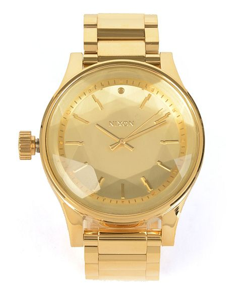watch nixon sentry front gold analog green zumiez watches ss
