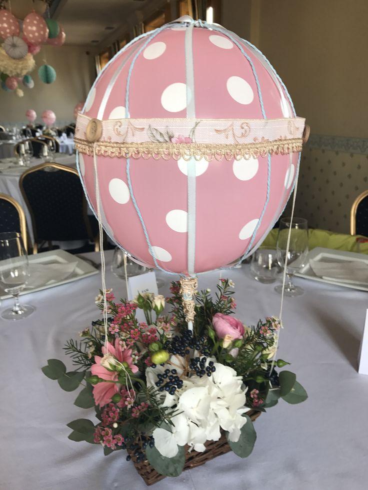 Hot air balloon theme flowers centerpiece by Atelier Floristic Aleksandra