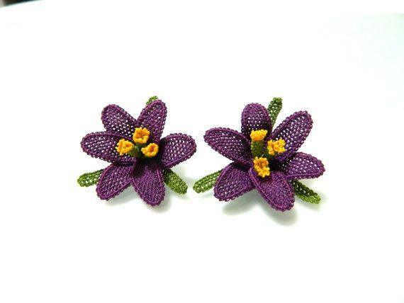 Purple lily silk needle lace  earrings  purple by guldemirdinc, $50.00