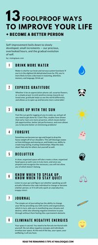 Love this simple list. All of these are applicable on how to become a better entrepreneur and business owner. |13 Foolproof Ways to Improve Your Life + Become a Better Person | Infographic, Self-Improvement, Health