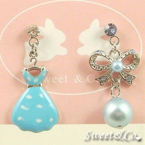 Mini Blue Dress & Ribbon Earrings