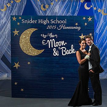 Use our To the Moon and Back Photo Booth Background to create unique photo memories of your guests. The prop measures 7 feet 6 inches high.