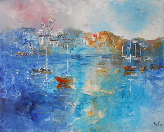 """Tableau marine """"Marseille - Notre Dame de La Garde"""" - peintures-axelle-bosler : Peintures par peintures-axelle-bosler"""