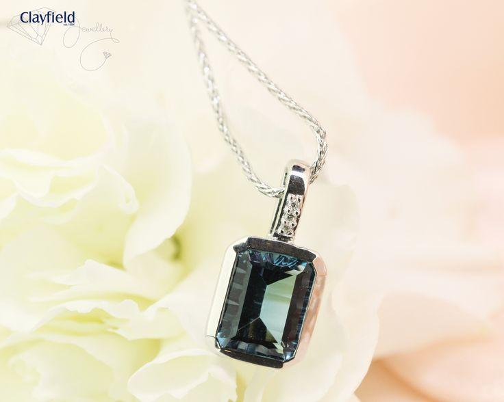 Gorgeous topaz pendant with three diamonds, by Clayfield Jewellery in Nundah Village - North Brisbane