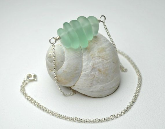 Sea Glass Necklace Seafoam Green Necklace Mint Necklace