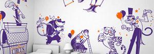 Kit Stickers Animaux du Cirque - Stickers Muraux Bébés & Enfants E-Glue - Deco Murale Chambre Enfant