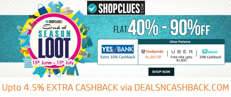 End of season sale flat 40 - 90% off @shopclues + get upto 4.5% cashback from dealsncashback.com  www.dealsncashback.com/merchants/shopclues  #shopclues #eoss #dealsncashback #deals #sale #onlineshopping #shoppingindia