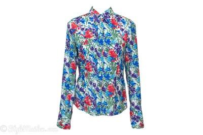 HUGO HUGO BOSS Floral Print Cotton Button-Down Shirt Size 40