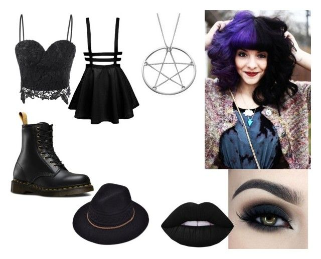 """""""4"""" by midnighthillzy on Polyvore featuring Dr. Martens, Too Faced Cosmetics and Lime Crime"""