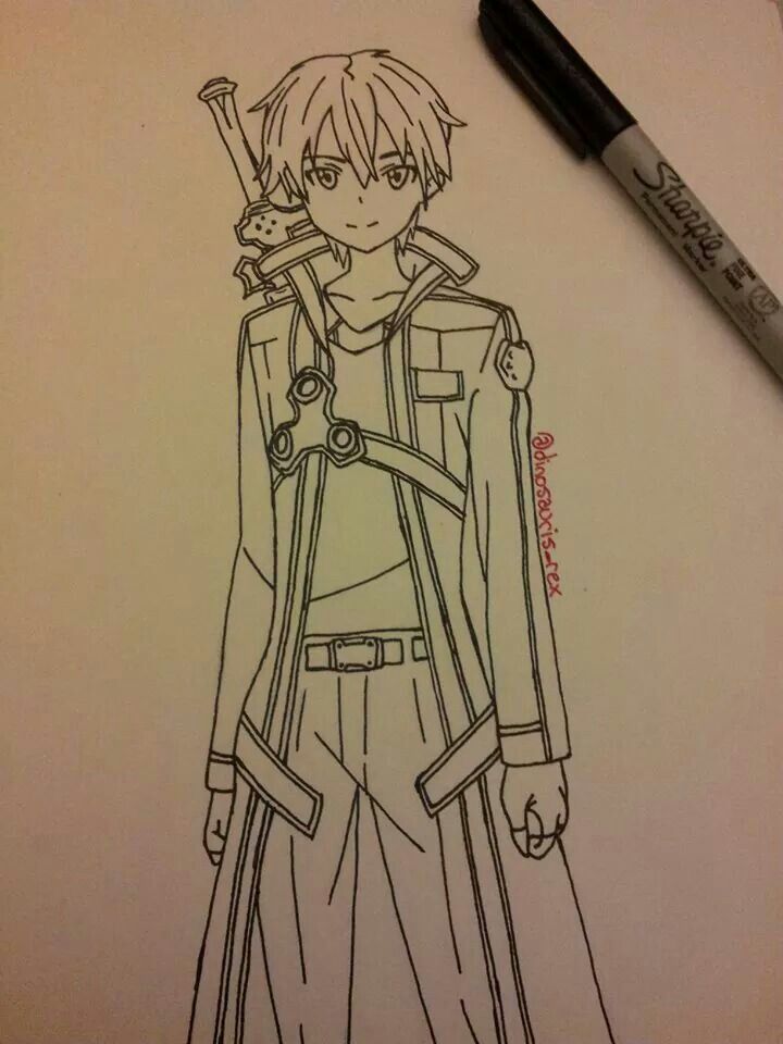 kirito drawing sketch sword art online my drawings