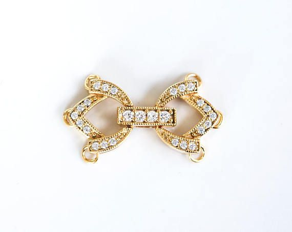 2864 925 silver clasp 12x22 mm Gold plated clasp Cubic