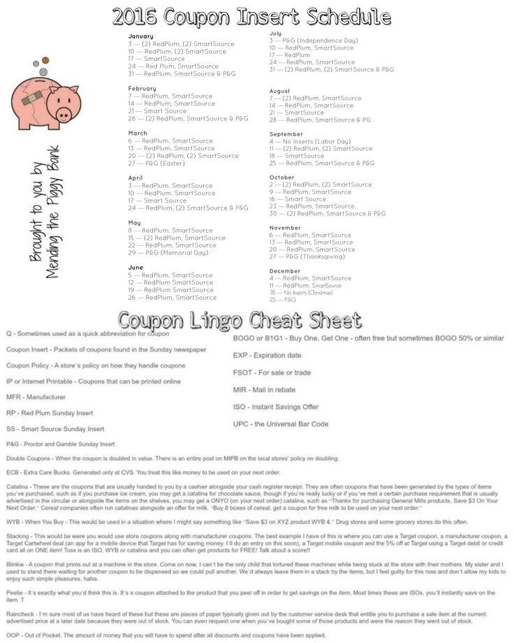 Printable coupon cheat sheet
