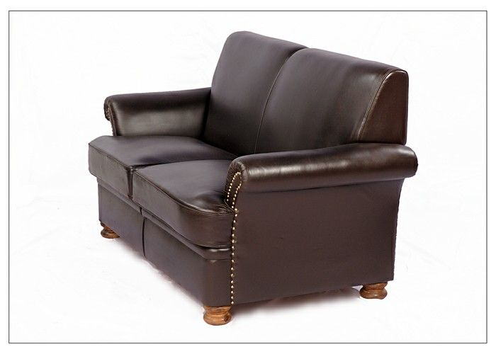 leather sofa on wooden frame