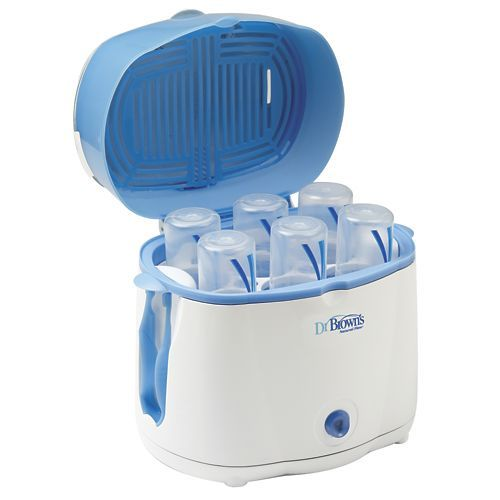 Dr. Browns Electric Bottle Sterilizer from One Step Ahead | The quickest, easiest way to sterilize baby's bottles! This Dr. Brown's electric sterilizer uses highly-effective steam heat to destroy germs in minutes, then shuts off automatically once the job is done. Holds six Dr. Brown's bottles (even Wide Necks), and sterilizes them in just 12 minutes...