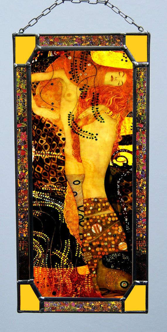 "Gustav Klimt, Water Serpents I.1904-1907  Size: 270 mm x 130 mm (10.5"" x 5"" inches) The closeness of the copy is gained due to digital typewriter. The print is protected by two pieces of 1,3 mm (0.05"") thick glass that are embedded into the thin lead section and soldered by tin. We use special UV stabilized paints. This window-pane is suitable for windows or to hang on a wall like a picture."