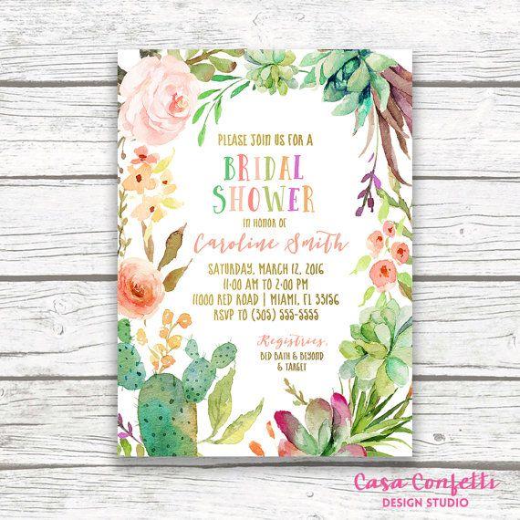 Tropical Cactus Bridal Shower Invitation, Fiesta Cinco de Mayo Gold Foil…