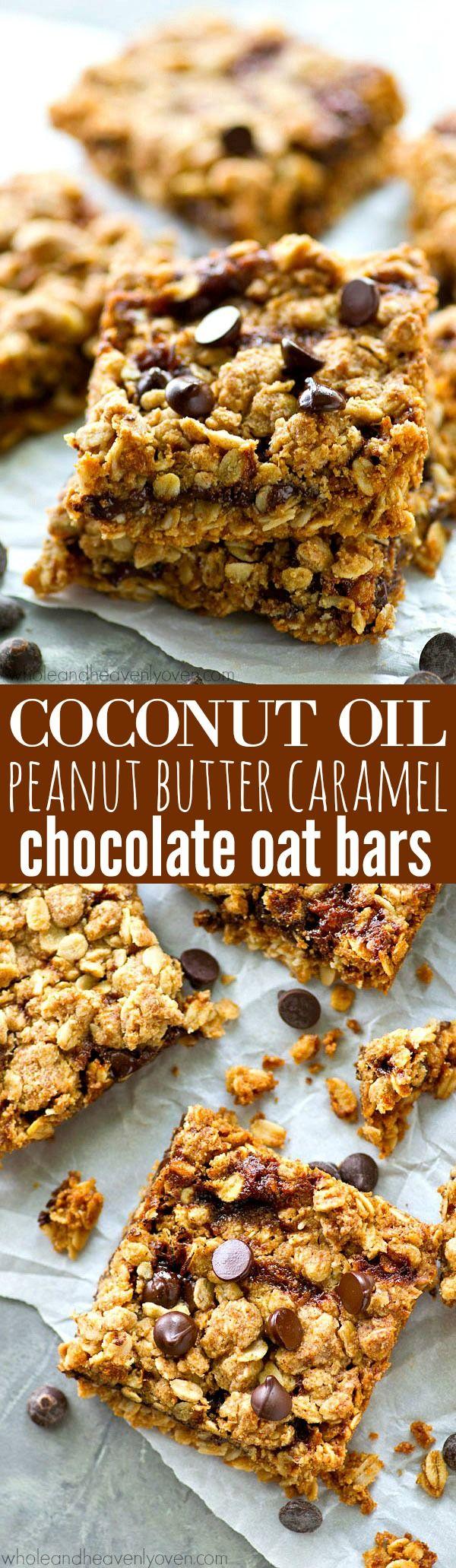 Coconut Oil Peanut Butter Caramel Chocolate Oat Bars
