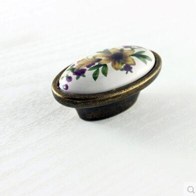 rustico pastorale ceramic furniture handle bronze drawer cabinet knob antique brass dresser cupboard handles vintage porcelain