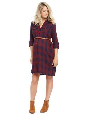 Classic Plaid Belted Maternity Shirt Dress
