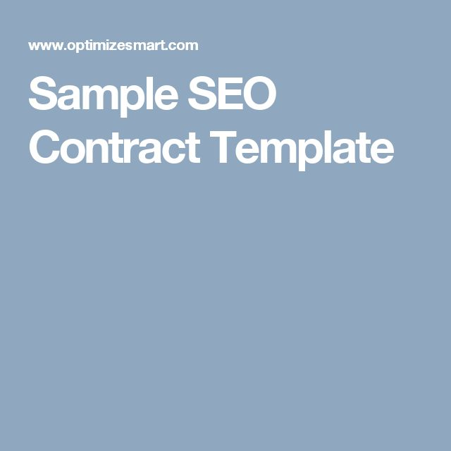 Sample Seo Contract Template  Web Design Contracts    Seo