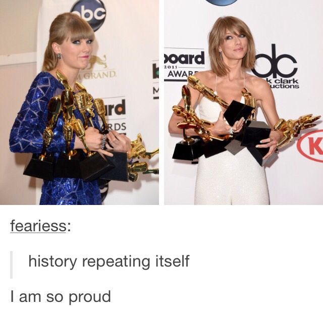 Taylor with all her awards. It's a shame she only won two Grammys this year, but she got nominated for a lot.