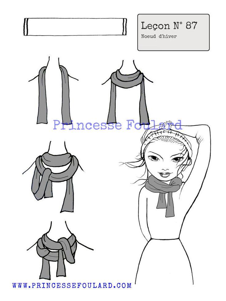 Comment porter un foulard en hiver, façons de mettre un foulard en automne hiver et attacher son foulard autour du cou bien au chaud ou sur la tête.