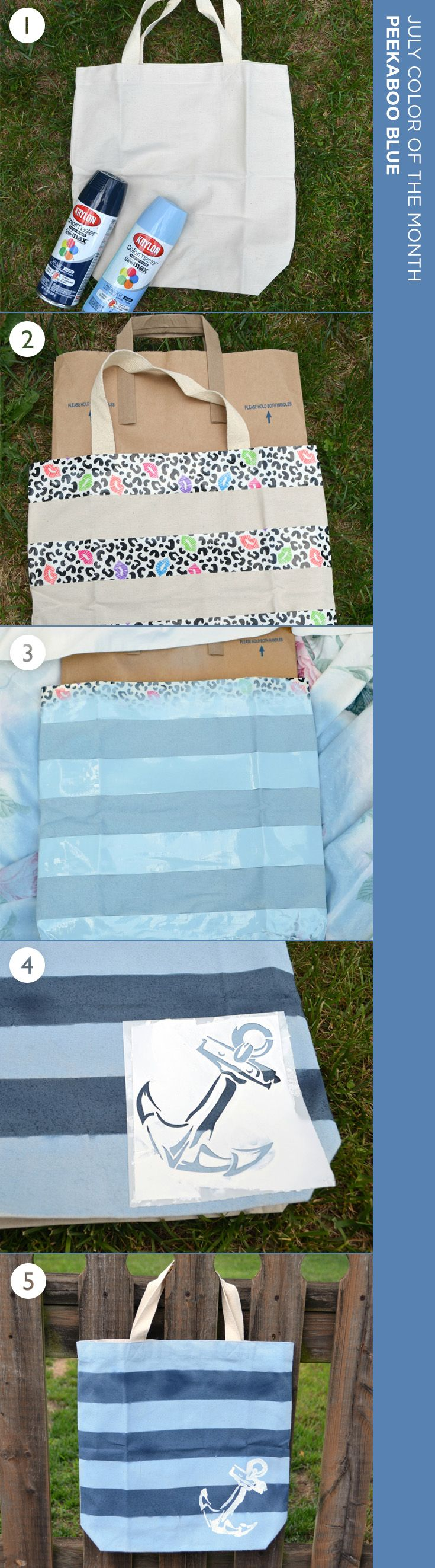 Pack up and head to the beach with this nautical tote bag, painted using Krylon's July Color of the Month, Peekaboo Blue. Fashion your own with instructions from @dancers4life  #DIYIdeas #DIYCrafts