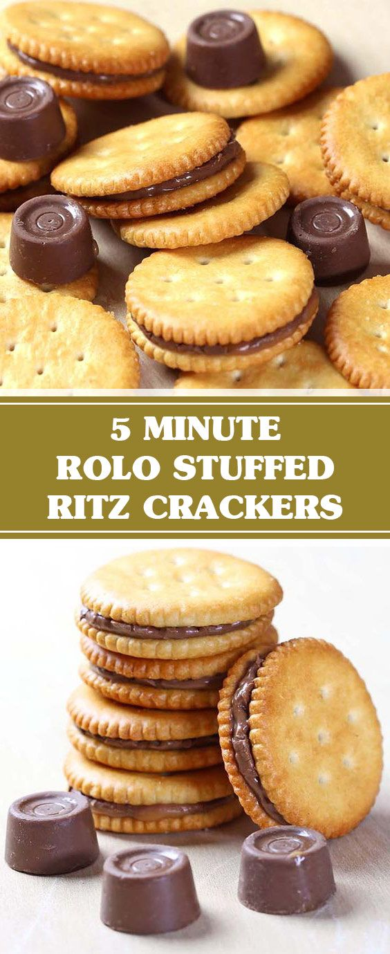 5 Minute Rolo Stuffed Ritz Crackers | This Rolo st…
