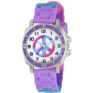 """Breda Women's 8134-B """"Sommers"""" Pastel Cameo Print Peace Sign Watch"""