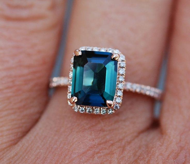 Peacock sapphire engagement ring. 2.81ct emerald cut blue green sapphire ring diamond ring 14k Rose gold ring by Eidelprecious. by EidelPrecious on Etsy