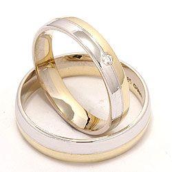 Søde tofarvet vielsesringe i 14 karat guld.- og hvidguld 0,025 ct - sæt