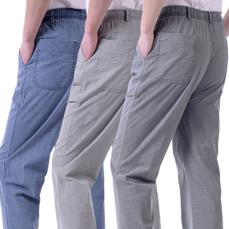 Summer thin section of the elderly men's trousers high waist relaxed middle-aged men casual pants old people loose long pants father