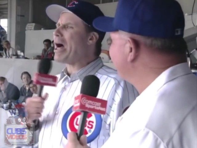 """PHI@CHC 5/7/05: Comedian Will Ferrell and former Bears head coach Mike Ditka provide their rendition of """"Take Me Out To The Ballgame"""" during the seventh inning of a daytime matchup! #clutch #mlb #cubs #phillies #gocubs #cubbies #wrigley #ivy #willferrell #mikeditka #amazing #takemeouttotheballgame #2005 #baseball #letsgo #FlyTheW"""