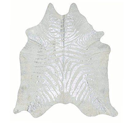 Kuhfell mit Zebra druck Pearl / Silber Fell Teppich Tapis en Peau de Vache Tappeto di pelle di mucca Cowhide Rug - Devore Metallic, Silver Zebra Print Alfombra Piel de Vaca (205 cm x 185 cm)