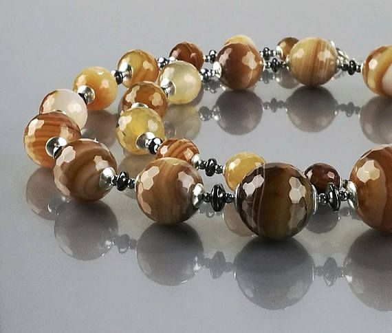 Chunky brown agate beaded necklace with hematite discs and sterling silver findings - made by Agnaart https://www.etsy.com/listing/565266264/chunky-gemstone-beaded-necklace-brown