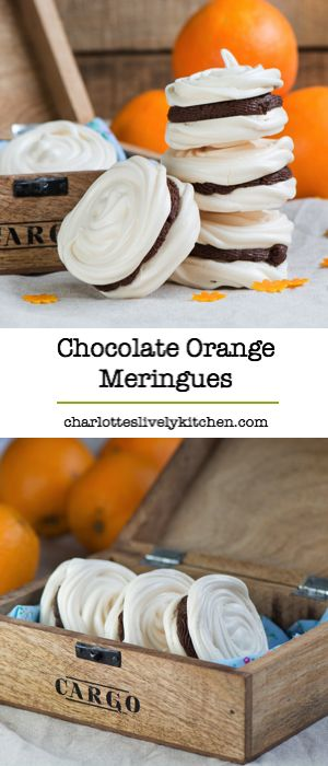 Delicious meringue with a hint of orange and a rich milk chocolate ganache filling. Gluten free.