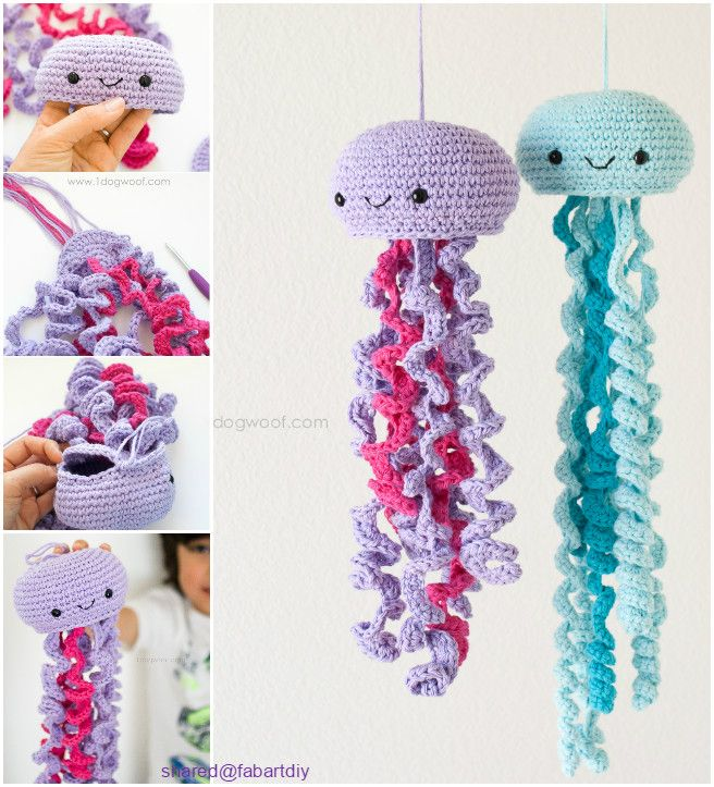 Crochet Jellyfish Pattern Free Tutorial Video, Amigurumi Toy and Home Decoration You can easily hook on with single and double stitch. #Crochet, #forKids => http://www.fabartdiy.com/crochet-jellyfish-pattern-free-video/