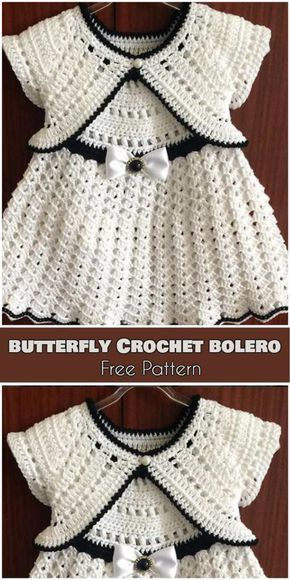 Butterfly Crochet Bolero for Babies and Kids [Free Pattern]