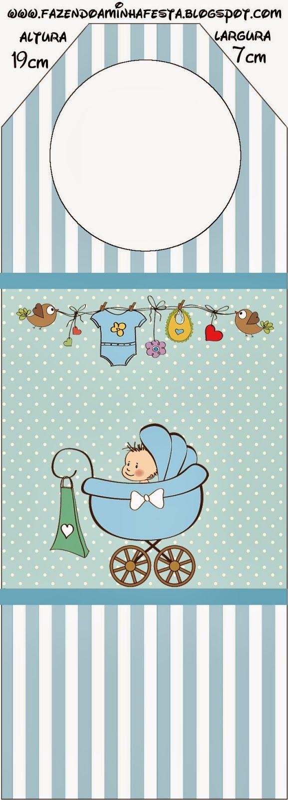 Cochecito Celeste de Bebé: Imprimibles Gratis para Fiestas.