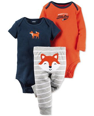 Carter's Baby Boys' 3-Pc. Fox Bodysuits & Pants Set - Sets & Outfits - Kids & Baby - Macy's