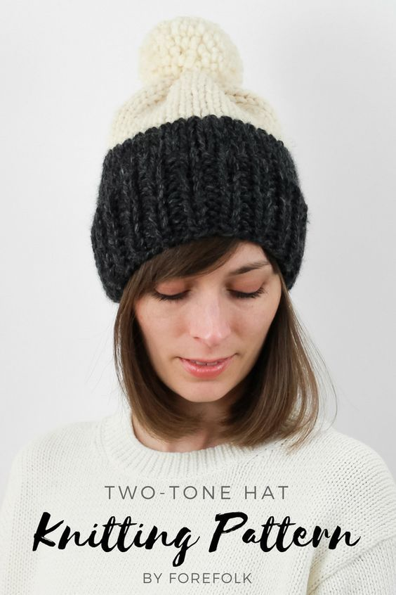 Two-Tone Hat Knitting Pattern  e636fe2a130