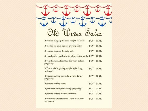 Old Wives Tales Baby Gender Game Nautical by MagicalPrintable