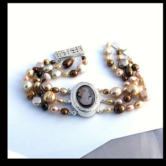 OOAK Cameo  Keishi freshwater pearls bracelet 3rows Sterling