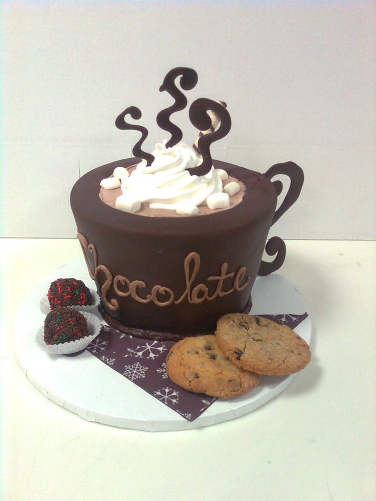 """hot chocolate cup - made at work (threebrothersbakery) for my friend. he loved it. everything u can eat even cup. made from an 8"""" round. cut cup upside down then cover."""