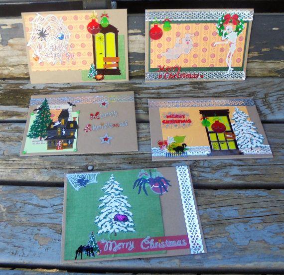 Spooky Christmas  set of 5 handmade cards by RogueKissedCraft