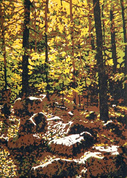 Forest Light Linocut Print By William Hays