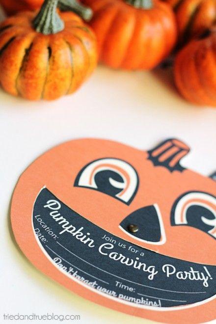 Freebie | Pumpkin Carving Party Invites
