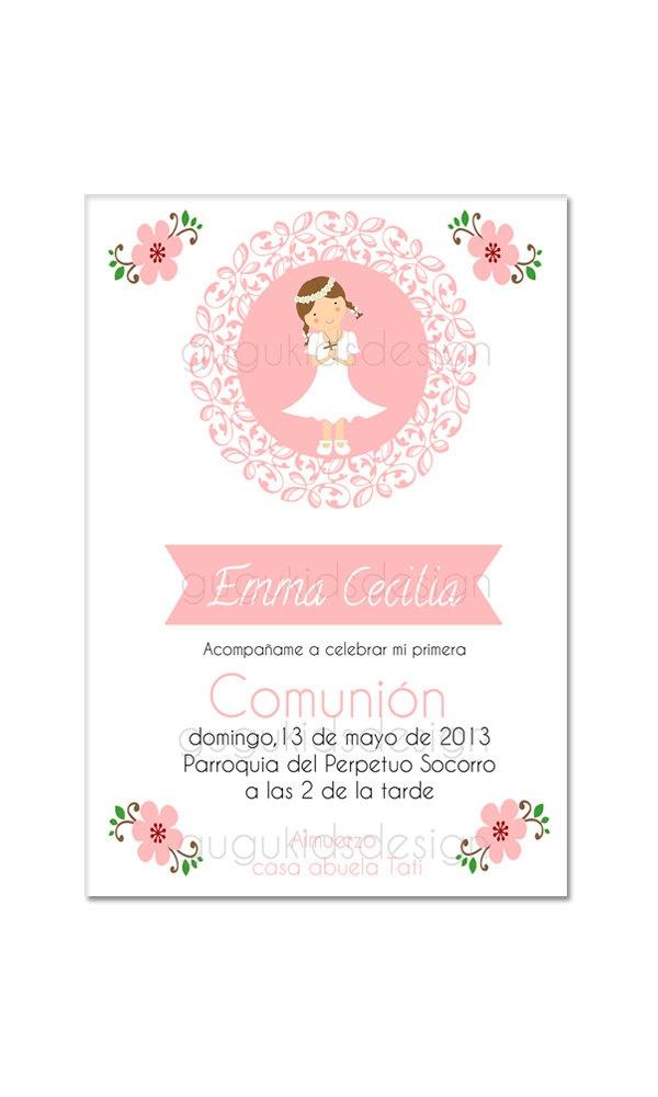 Recordatorio Girl First Communion Invitation