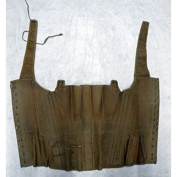Corset, c. 1830.  Canvas, quilting, boned.  Wooden front busk, brass grommets.