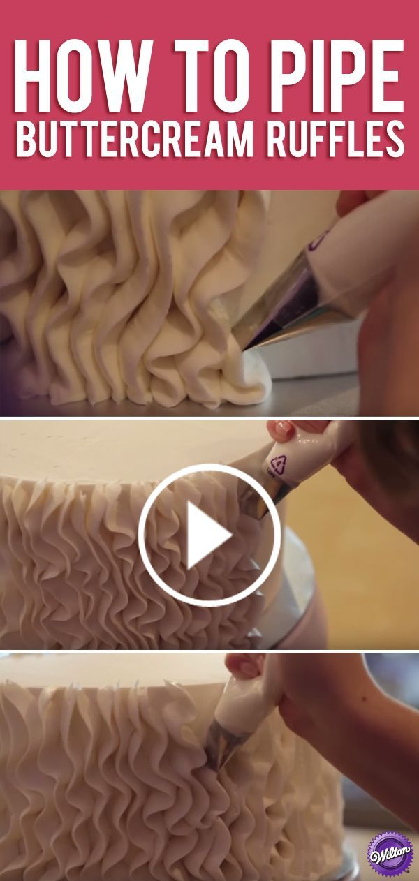 Learn how to pipe crepe-like buttercream ruffles on your next cake.